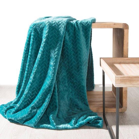 Koc miękki i miły w dotyku na fotel z efektem 3D ciemnoturkusowy 70x160cm - 70 X 160 cm