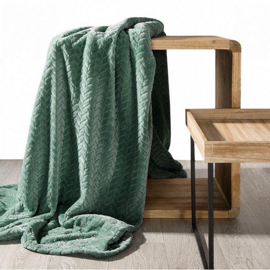 Koc miękki i miły w dotyku na fotel z efektem 3D miętowy 70x160cm - 70 X 160 cm