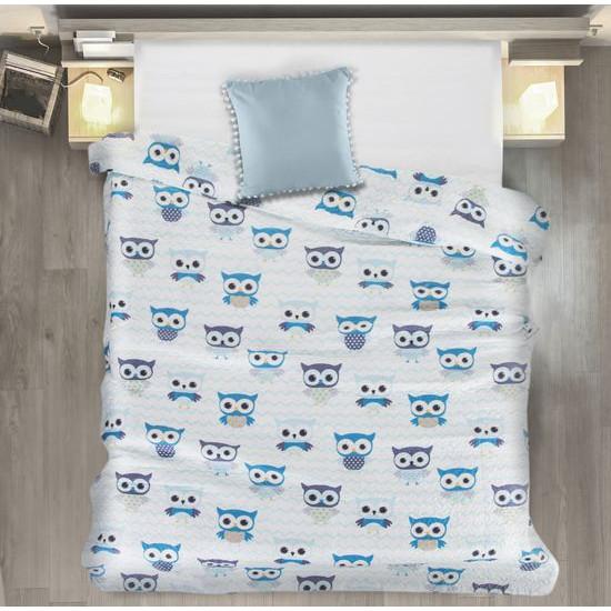 Narzuta dziecięca kolorowe sówki 170x210cm - 170 X 210 cm - biały/niebieski