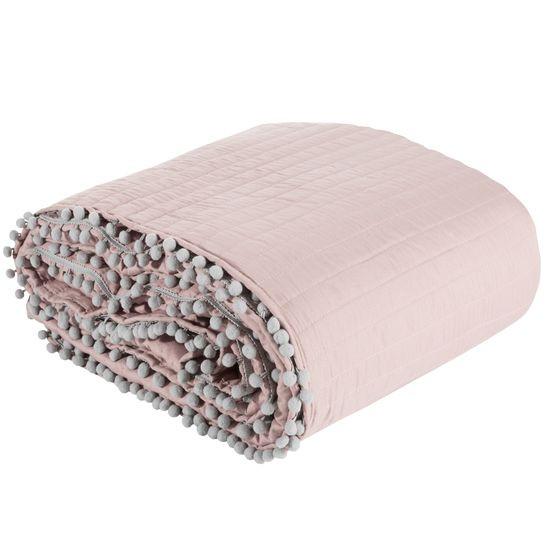 Narzuta na łóżko pikowana pomponiki 220x240 cm różowa - 220 X 240 cm - różowo/srebrny