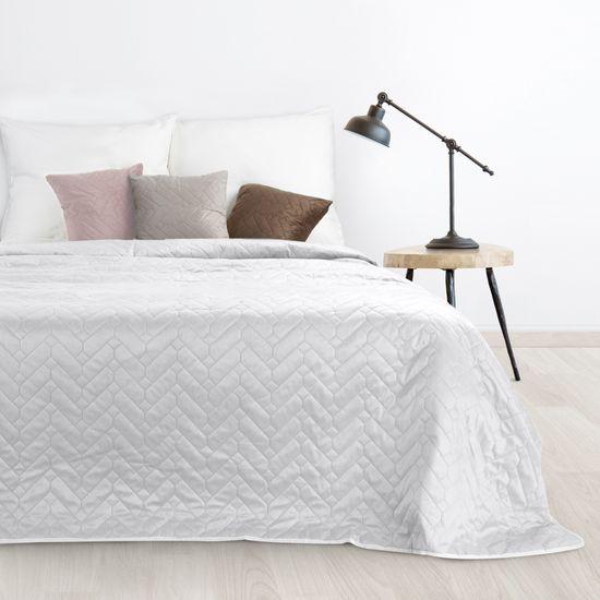 Narzuta welurowa dwustronna termozgrzewana biały+srebrny 220x240cm - 220 X 240 cm - biały/popielaty