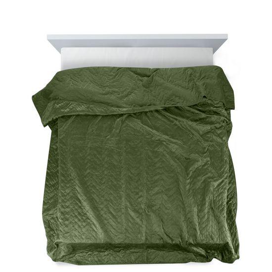 Narzuta welurowa dwustronna termozgrzewana oliwkowy 170x210cm - 170x210