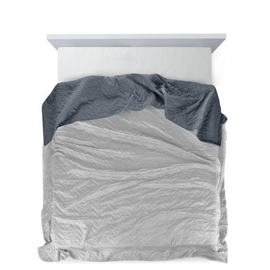 Narzuta welurowa dwustronna termozgrzewana stalowy+srebrny 220x240cm - 220x240 - srebrny / grafitowy