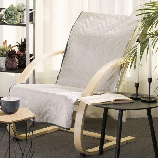 Narzuta welurowa dwustronna na fotel termozgrzewana stalowy+srebrny 70x160 cm - 70 X 160 cm - popielaty/grafitowy