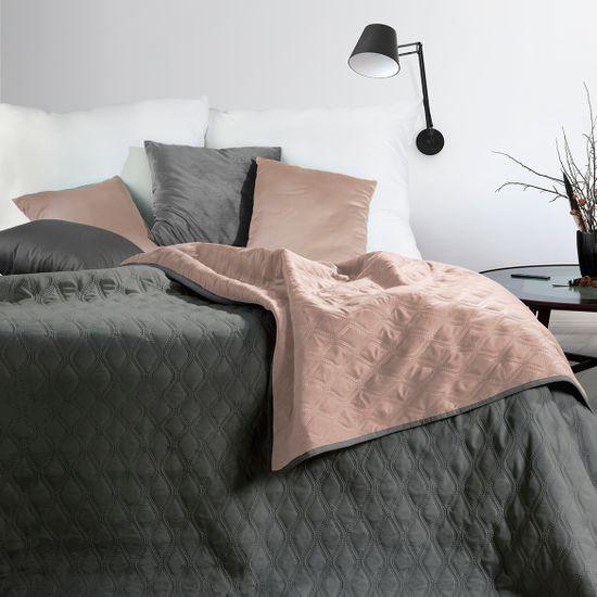 Narzuta pikowana w geometryczny wzór termozgrzwana stalowo-różowy 220x240cm - 220 X 240 cm - stalowy/różowy