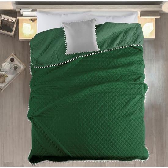 Narzuta zdobiona na brzegach pomponami termozgrzewana zielony 220x240cm - 220 X 240 cm - zielony