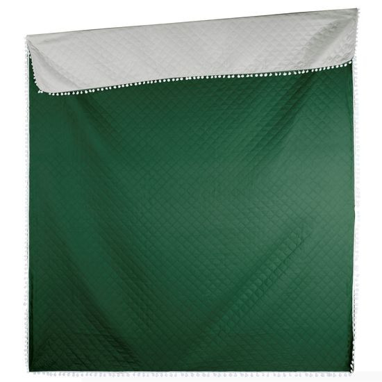 Narzuta zdobiona na brzegach pomponami termozgrzewana zielona 170x210cm - 170x210