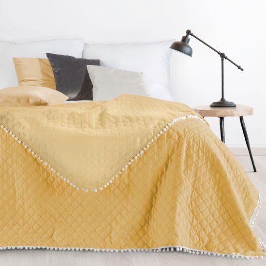 Narzuta zdobiona na brzegach pomponami termozgrzewana żółty 220x240cm - 220x240