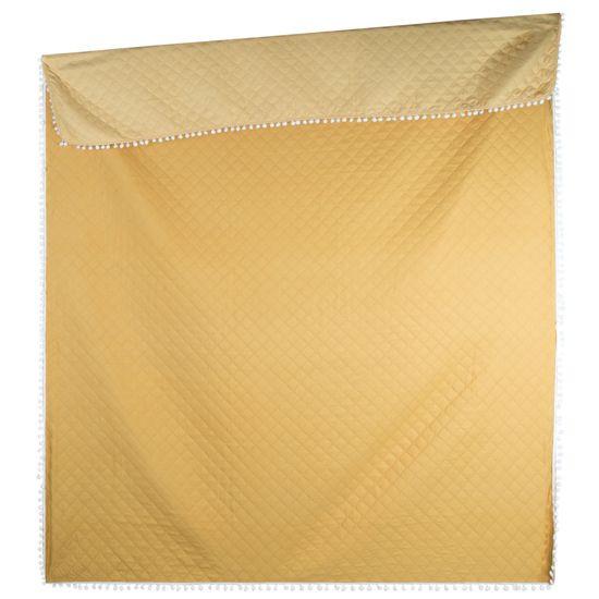 Narzuta zdobiona na brzegach pomponami termozgrzewana żółty 170x210cm - 170x210 - żółty