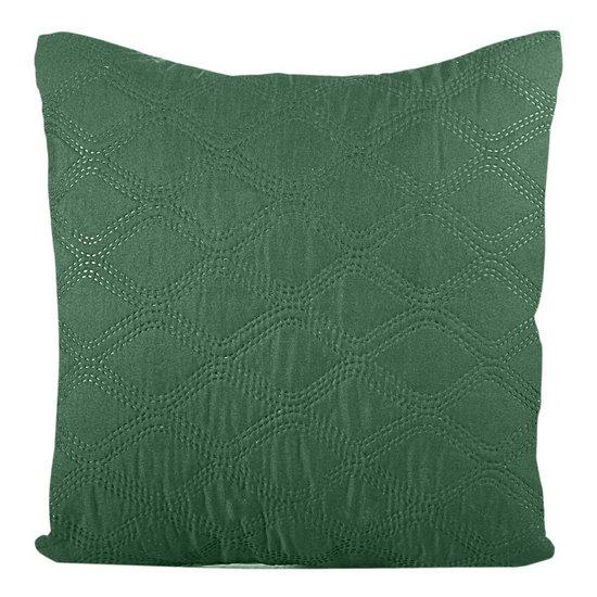 Poszewka pikowana wzór geometryczny termozgrzewana zielono-srebrna 40x40cm - 40 X 40 cm