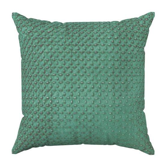Poszewka na poduszkę dwustronna pikowana szaro-zielona 40 x 40 cm  - 40x40 - zielony / szary