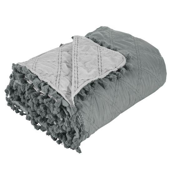 Narzuta na łóżko przeszywana dwustronna 170x210 cm stalowo-srebrny - 170 X 210 cm - stalowy/srebrny