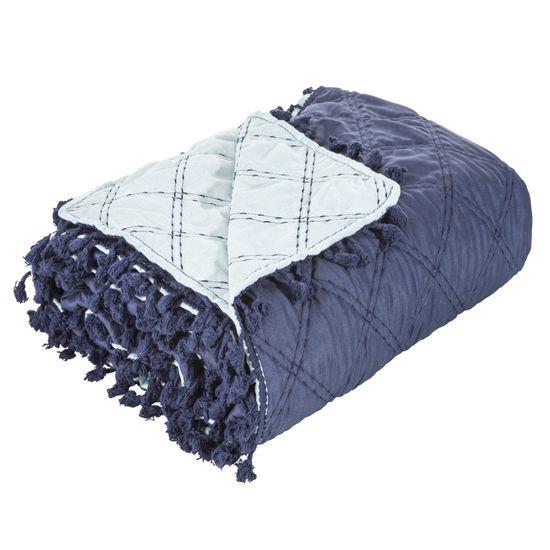 Narzuta na łóżko przeszywana dwustronna 170x210 cm granatowo-błękitna - 170 X 210 cm - granatowy
