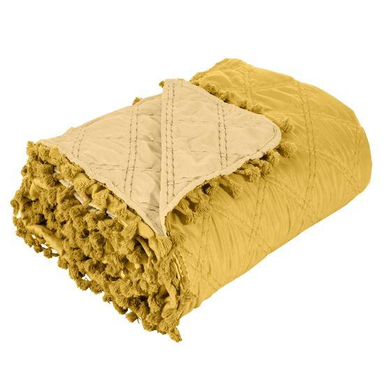 Narzuta na łóżko przeszywana dwustronna 170x210 cm żółta - 170 X 210 cm - żółty