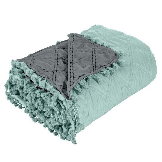 Narzuta na łóżko przeszywana dwustronna 170x210 cm miętowo-stalowa - 170 X 210 cm