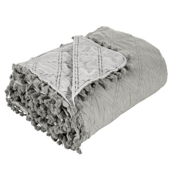 Narzuta na łóżko przeszywana romby 220x240 cm beżowa - 220 X 240 cm