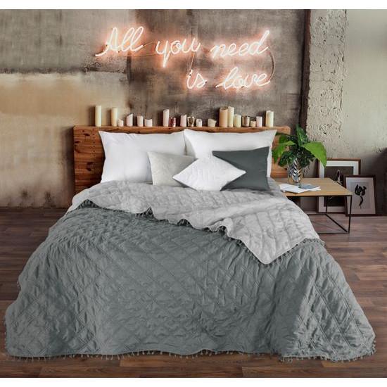 Narzuta na łóżko przeszywana dwustronna 220x240 cm stalowo-srebrny - 220x240
