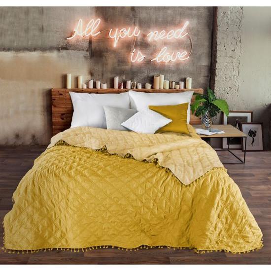 Narzuta na łóżko przeszywana dwustronna 220x240 cm żółta - 220 X 240 cm - żółty