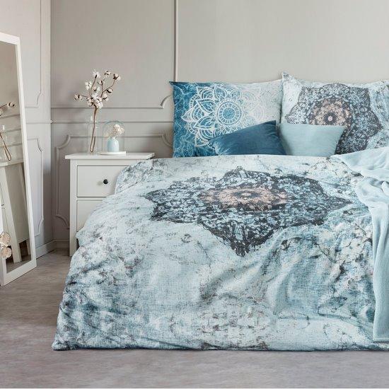 Komplet pościeli bawełnianej 160 x 200, 2 szt. 70 x 80 nadruk przecierany mandala hiszpańska bawełna - 160x200 - niebieski