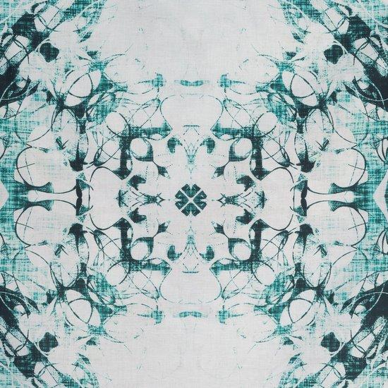 Komplet pościeli z bawełny hiszpańskiej  220 x 200 cm, 2 szt. 70 x 80 styl boho przecierany wzór - 220x200 - biały / turkusowy