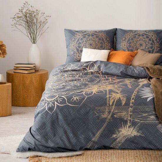 Komplet pościeli bawełnianej 160 x 200, 2 szt. 70 x 80 złota mandala hiszpańska bawełna  - 160 X 200 cm, 2 szt. 70 X 80 cm - grafitowy/złocisty
