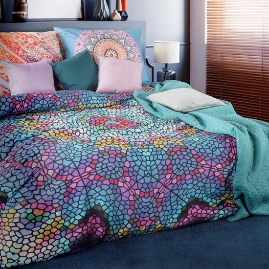 Komplet pościeli z bawełny hiszpańskiej 160 x 200 cm, 2 szt. 70 x 80 mozaikowy wzór hiszpańska bawełna - 160 X 200 cm, 2 szt. 70 X 80 cm - wielokolorowy