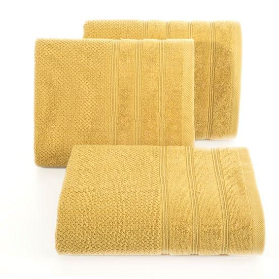 Bawełniany ręcznik kąpielowy frote musztardowy 50x90 - 50 X 90 cm - musztardowy