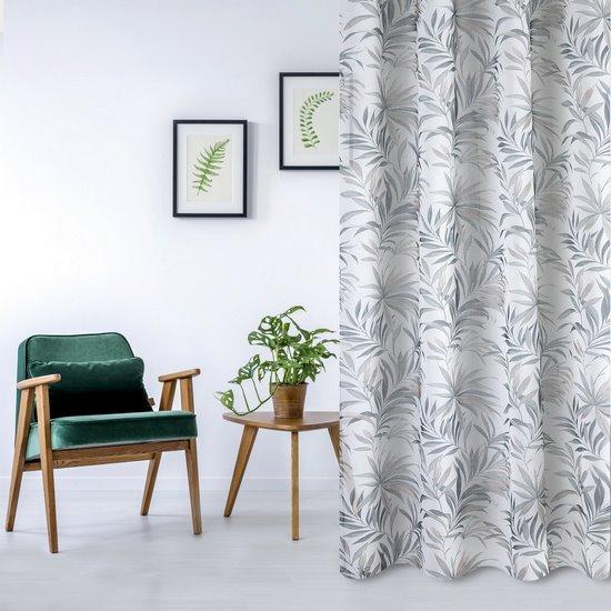 Zasłona w liście palmowe nancy na przelotkach 140x250 - 140 X 250 cm - szary/brązowy