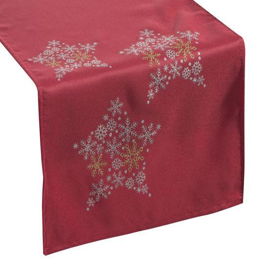 Czerwony BIEŻNIK ŚWIĄTECZNY  z brokatowymi gwiazdkami 40x140 cm - 40 X 140 cm - czerwony, złoty, srebrny