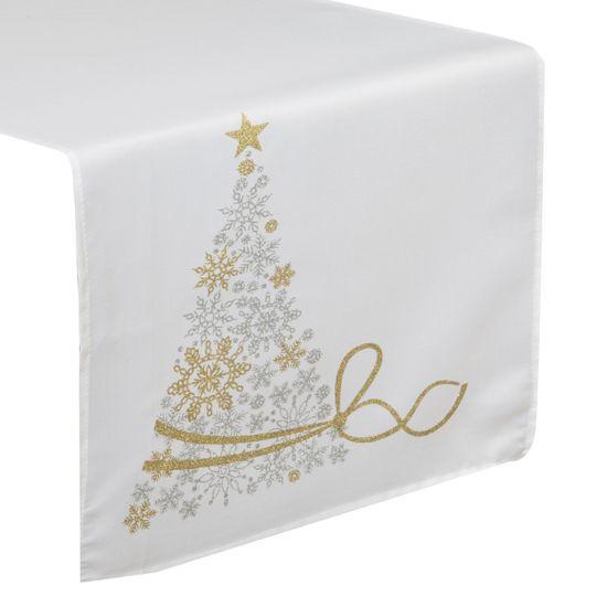 Biały bieżnik świąteczny brokatowa choinka 40x140 cm - 40x140