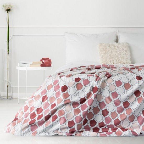 Kloe mięciutki koc z mikroflano różowy 170x210 Design 91 - 170 X 210 cm - biały/różowy