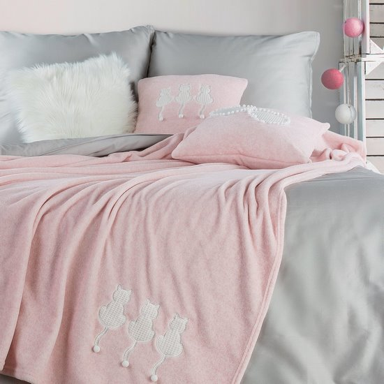 Miękki KOC Z APLIKACJĄ kotki różowy 150x200 cm - 150x200 - różowy
