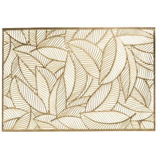 Ażurowa podkładka stołowa złote liście palmowe 30x45 cm - 30 X 45 cm - złoty