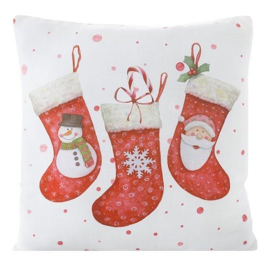 Dekoracyjna POSZEWKA NA PODUSZKĘ ze świątecznym motywem 40x40 cm - 40X40 - biały, czerwony