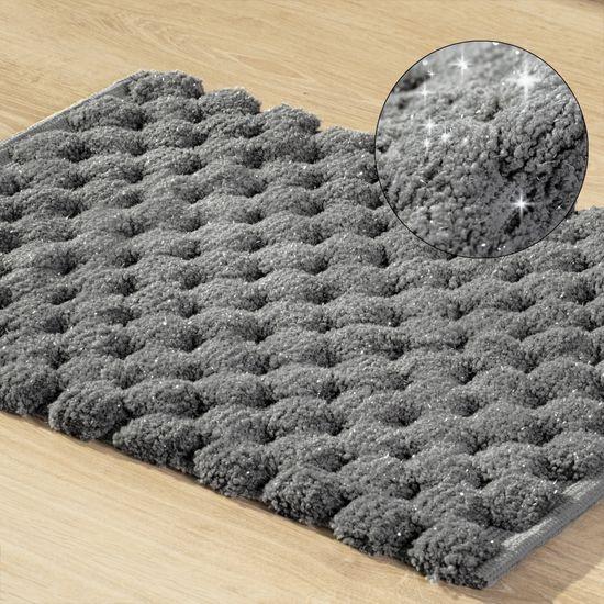 Grafitowy dywanik łazienkowy tłoczony ze srebrną nicią 50x70 cm - 50 X 70 cm