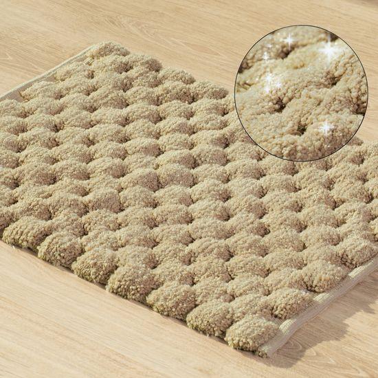 Beżowy dywanik łazienkowy tłoczony ze srebrną nicią 50x70 cm - 50 X 70 cm
