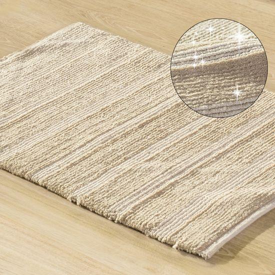 Łazienkowy dywanik w paski splot pętelkowy beż 50x70 cm - 50 X 70 cm