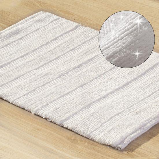 Łazienkowy dywanik w paski splot pętelkowy krem 60x90 cm - 60 X 90 cm