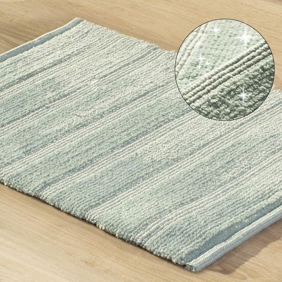 Łazienkowy dywanik w paski splot pętelkowy miętowy 60x90 cm - 60 X 90 cm
