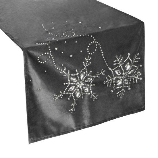 Stalowy szary bieżnik z kryształami świąteczny 40x140 cm - 40 X 140 cm