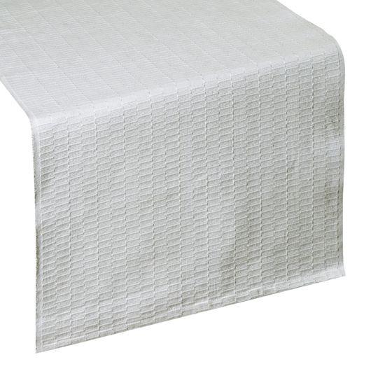 Biały bieżnik z bawełny i lureksu obrus 40x140 cm - 40 X 140 cm