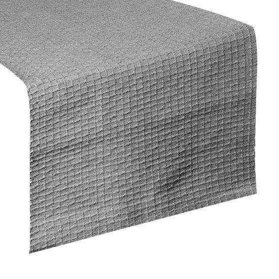 Srebrny BAWEŁNIANY BIEŻNIK tłoczony 40x140 cm - 40x140 - Srebrny