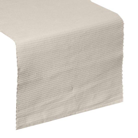 Beżowy bieżnik na stół strukturalny w paski bawełniany 40x140 cm - 40 X 140 cm