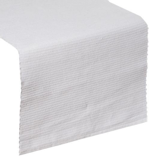 Biały bieżnik na stół strukturalny w paski bawełniany 40x140 - 40 X 140 cm - biały