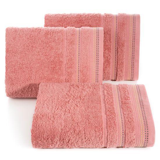 Ręcznik z bawełny z ozdobnym stebnowaniem 70x140cm - 70 X 140 cm - koralowy