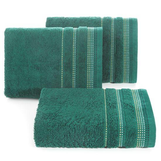 Ręcznik z bawełny z ozdobnym stebnowaniem 50x90cm - 50 X 90 cm - butelkowy zielony