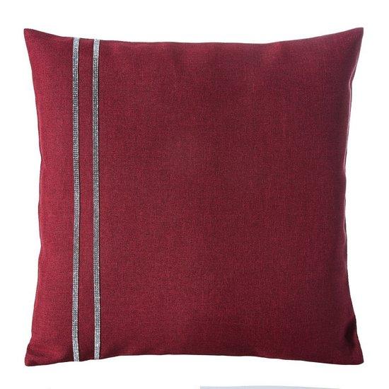 Czerwona POSZEWKA DEKORACYJNA z pasem cyrkonii 40x40 cm - 40x40 - Czerwony