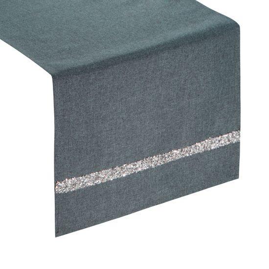 Grafitowy bieżnik na stół do jadalni cekiny 33x180 cm - 33 X 180 cm - grafitowy