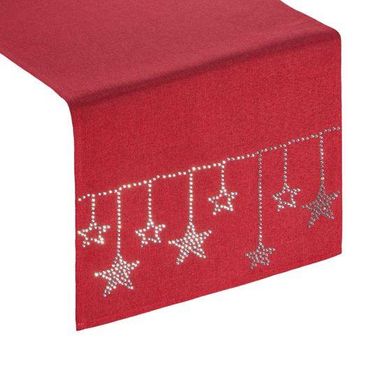 Czerwony świąteczny bieżnik z cyrkoniami 33x140 cm - 33 X 140 cm