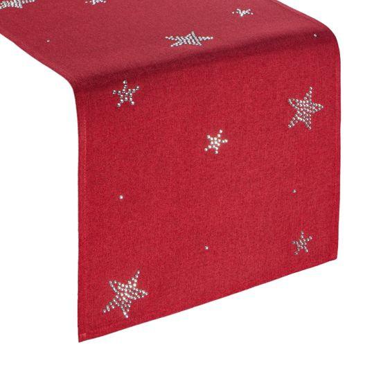 Czerwony świąteczny bieżnik w gwiazdki 33x140 cm - 33 X 140 cm - czerwony
